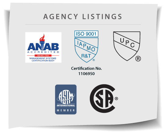 Mission Rubber Agency Approvals: ISO, ASTM, CSA